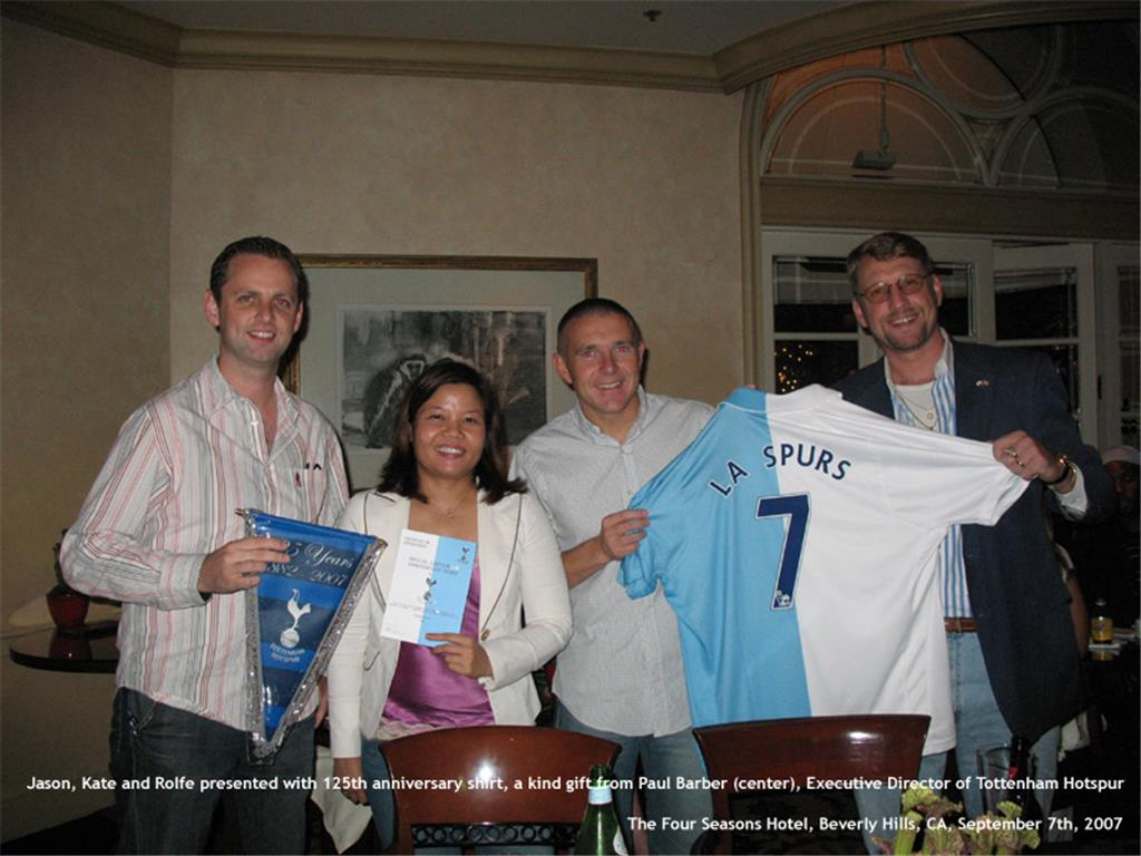 L.A. Spurs Founders with Tottenham Hotspur Executive Director, Paul Barber, in 2007. L to R, Jason Maxwell, Kate Sukhum & Rolfe Jones
