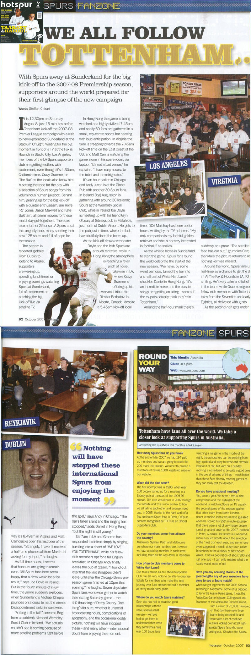 L.A. Spurs in October 2007 issue of Hotspur Magazine (Editor-In-Chief, Chris Hunt). Words by Steffan Chirazi of San Francisco Spurs.