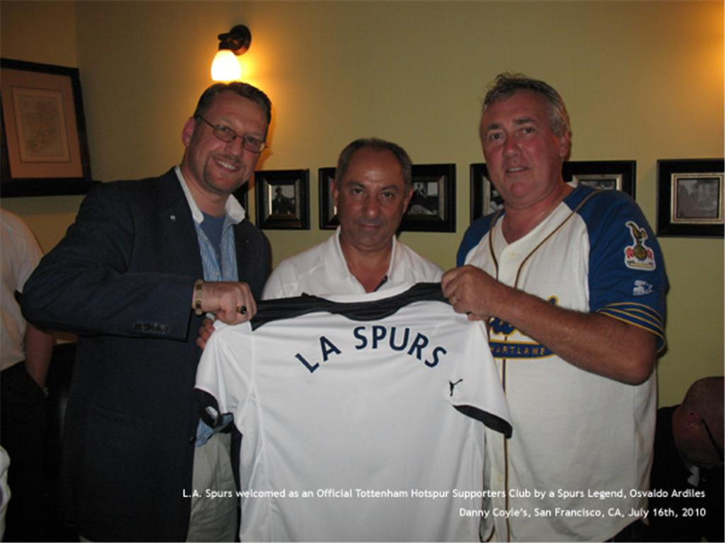 L.A. Spurs Board Members with Spurs Legend, Osvaldo Ardiles, at THFC Q&A event during San Francisco Tour 2010 - Rolfe Jones & Greg Palmer