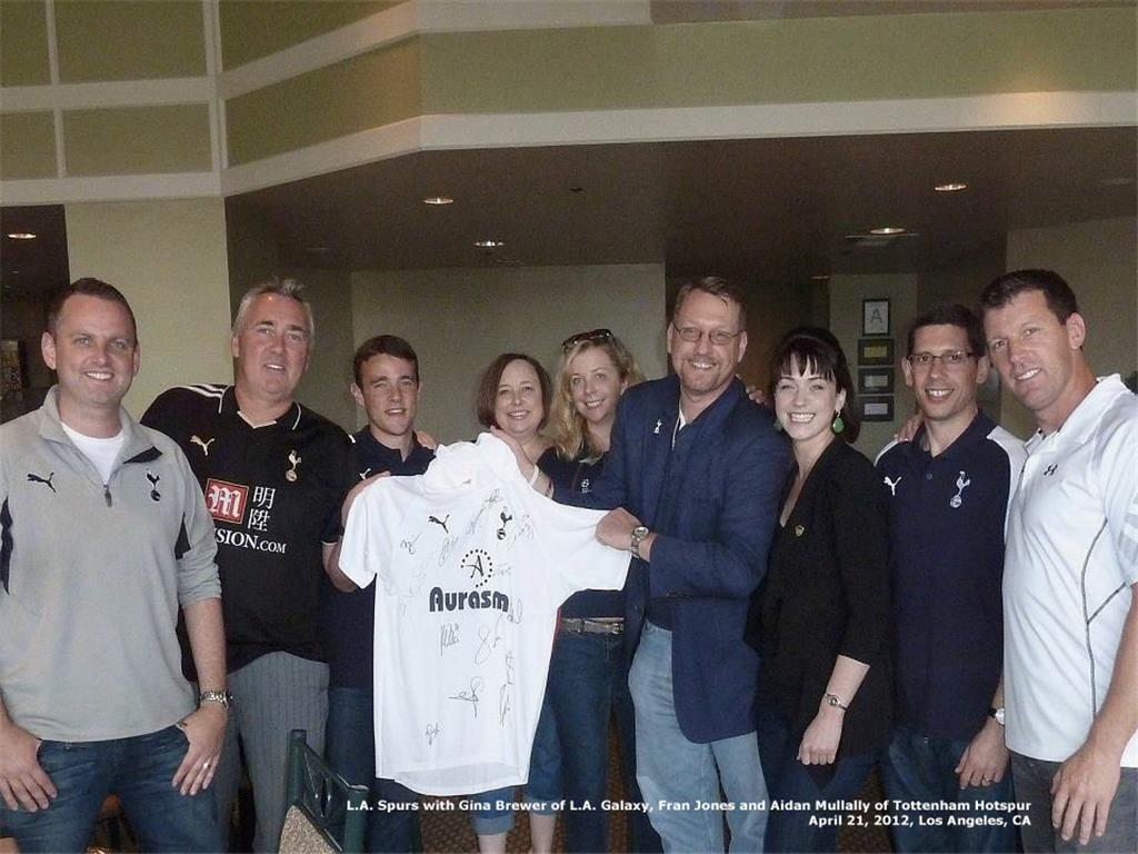 L.A. Spurs Board Members with L.A. Galaxy Officials for THFC 2012 North American Tour L to R - Jason Maxwell, Greg Palmer, Holly Hitt - Zuniga,Christina Gibson, Rolfe Jones & Gina Brewer (LA Galaxy)