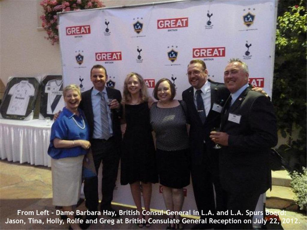L.A. Spurs Board Members with Dame Barbara Hay (Left), British Consulate General, at a reception for THFC 2012 North American Tour - Jason Maxwell, Christina Gibson, Holly - Hitt Zuniga, Rolfe Jones & Greg Palmer