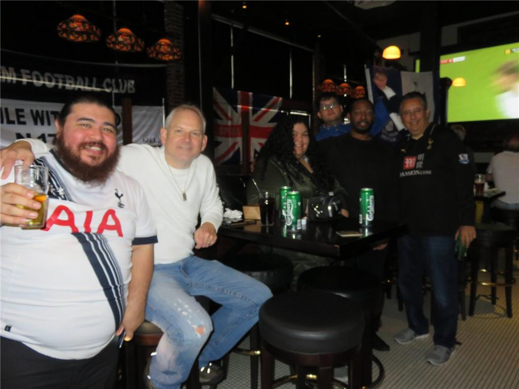 Part of 40 supporters at Tottenham vs Huddersfiled Town viewing party, The Greyhound Bar & Grill