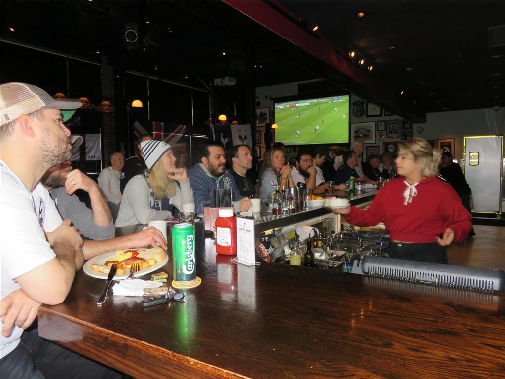 Close to 40 supporters turned up for Tottenham vs Huddersfiled Town at The Greyhound Bar & Grill