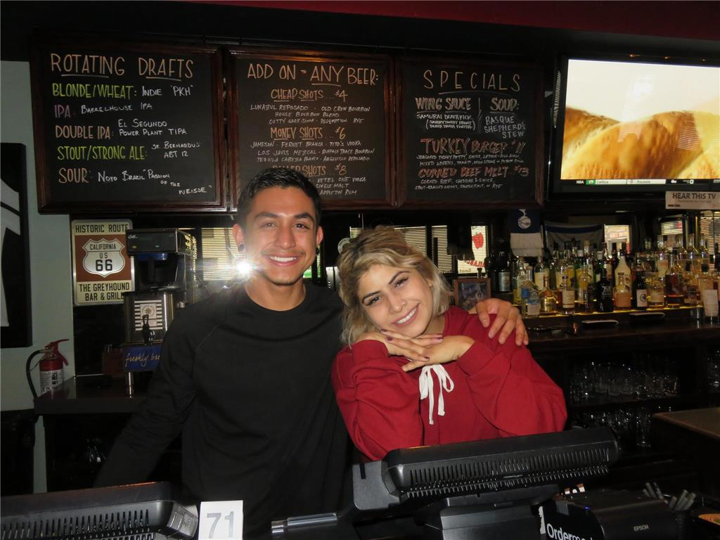 The Greyhound Bar and Grill's staff, Angel and Krystal.
