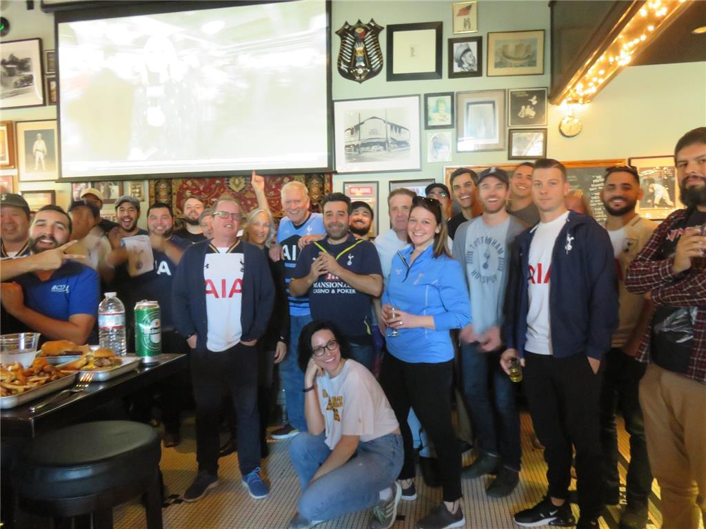 Good support for a mid-day game! Leicester 0-2 Tottenham. The Greyhound Bar & Grill in Highland Park.