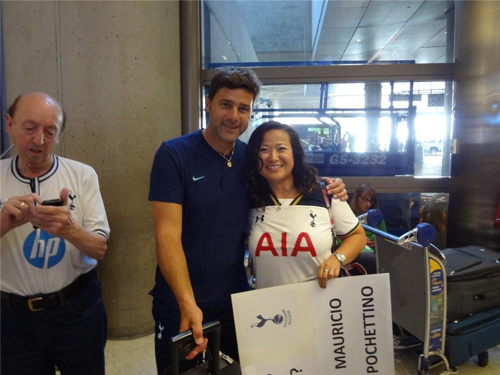 The Argentine-Brazilian connection. THFC Manager Mauricio Pochettino and super fan L.A. Spurs Eliana