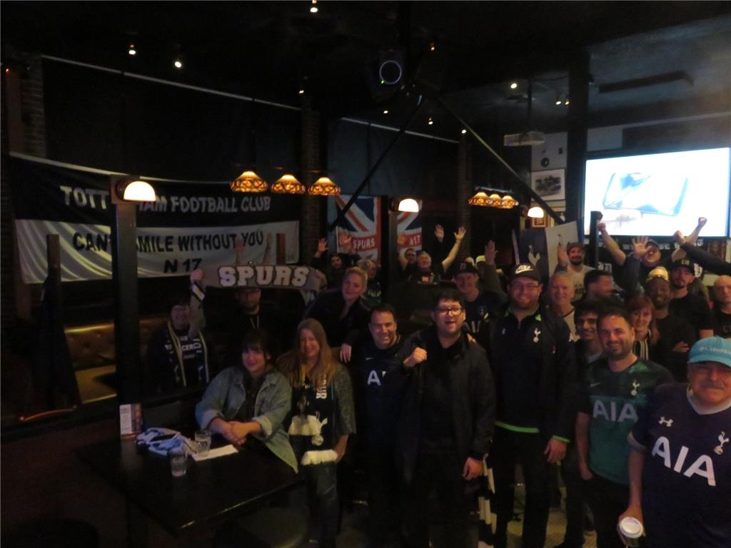 L.A. Spurs get up at 4:30 AM in the pouring Los Angeles rain.  Another late winner! Tottenham 1-0 Newcastle. The Greyhound Bar & Grill in Highland Park. Photo Credits: Graeme Rudge. #MyPLMorning