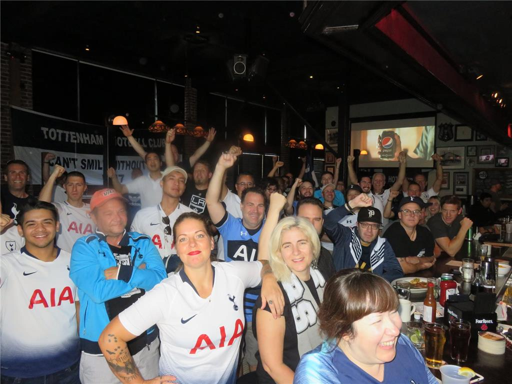 It raining goals! Supporters turn up in force. Tottenham 4-0 Palace. The Greyhound Bar & Grill. Photo Credits: Graeme Rudge.
