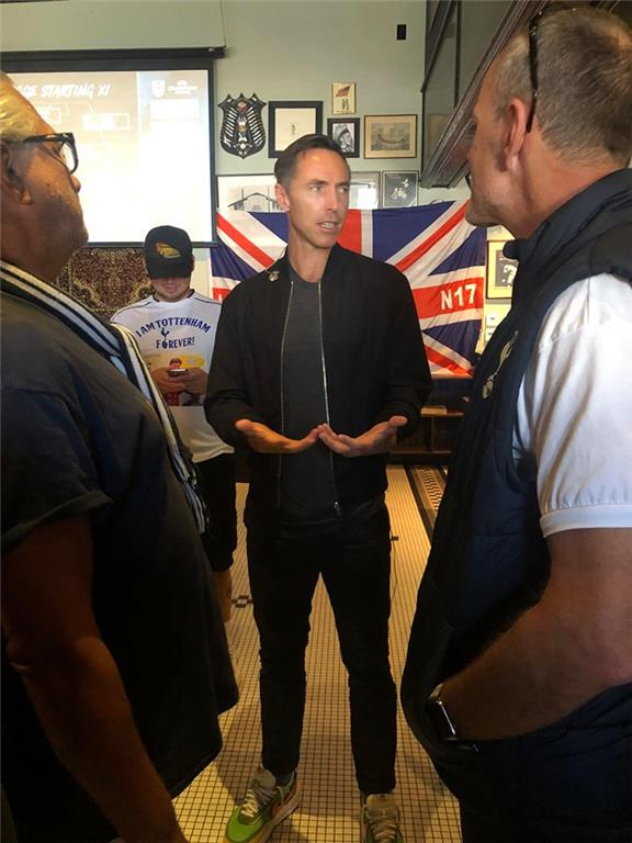 NBA MVP, Steve Nash, host Bleacher Report's B/R Live Champions League match between Tottenham v Bayern Munich at the Greyhound Bar & Grill. With Ashley Collie and Paul Smith.